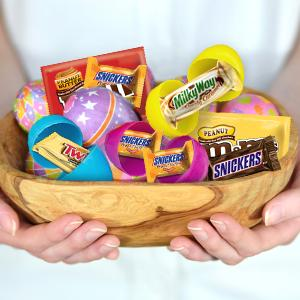 Make an Easter theme candy buffet with individually wrapped chocolates by MARS Candy.