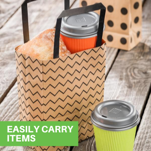 These kraft shopping bags feature a sturdy base to easily stack containers and gifts.