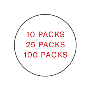 10, 25 and 100 packs