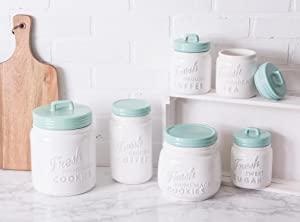 Organize Counter Tops with Decorative Coffee Tea and Sugar Canisters - Kitchen Storage Ideas
