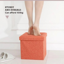 Foldable Fabric Storage Stool/Ottomans - 38cm : Can carry up to 100kg, sturdy and durable