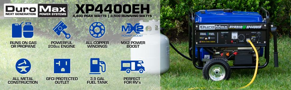 Duromax XP4400EH Dual Fuel 4400 Watt Portable Generator
