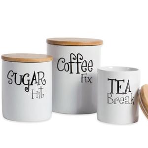 Artisan Kitchen Ceramic Tea Coffee Sugar Canisters Jar White Modern Grey Storage