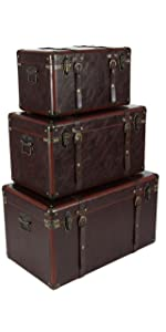 Deco 79 56977 Matte Leather Wood Trunks