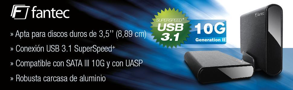 Fantec DB-ALU31. Carcasa de Aluminio Externa para Disco Duro SATA I/II/III de 3,5 y SSD, conexión USB 3.1 SUPERSPEED+ de hasta 10Gbps, Cable CC, ...