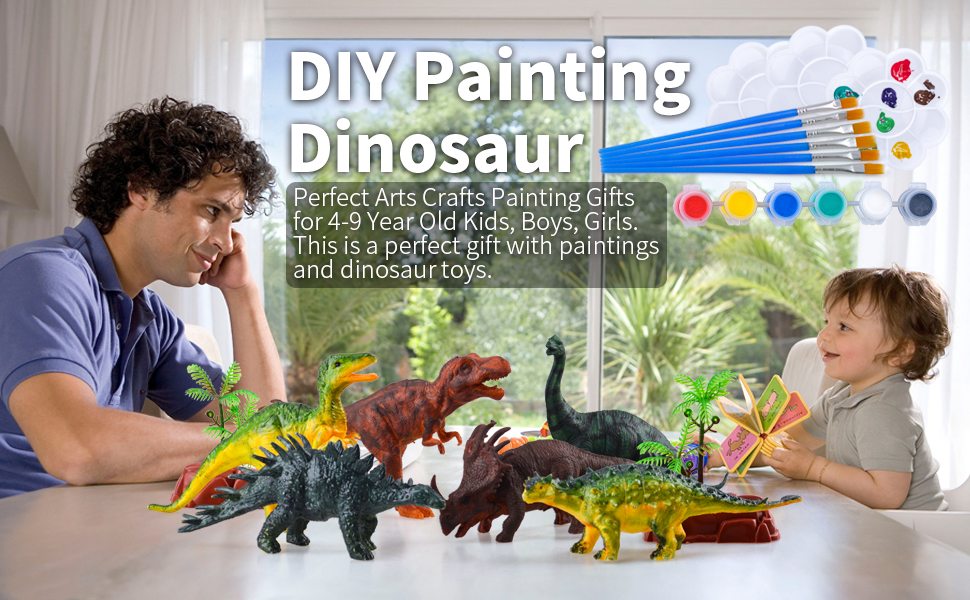 TIBEIBUY Popular DIY 3D Dinosaurs Painting Craft Toys for Boys Girls Kids Top Toys Gifts