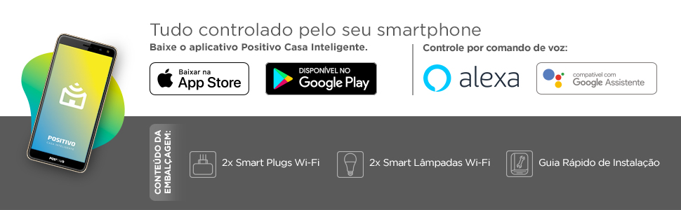 Positivo Casa Inteligente IOT Kit Casa Eficiente Wi-Fi segurança