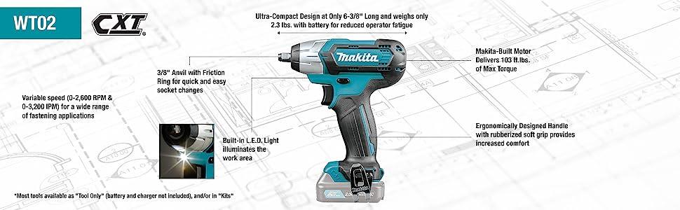 "12 VOLT Makita WT02Z 12V MAX CXT Li-Ion Cordless 3//8/"" Impact Wrench Tool Only"