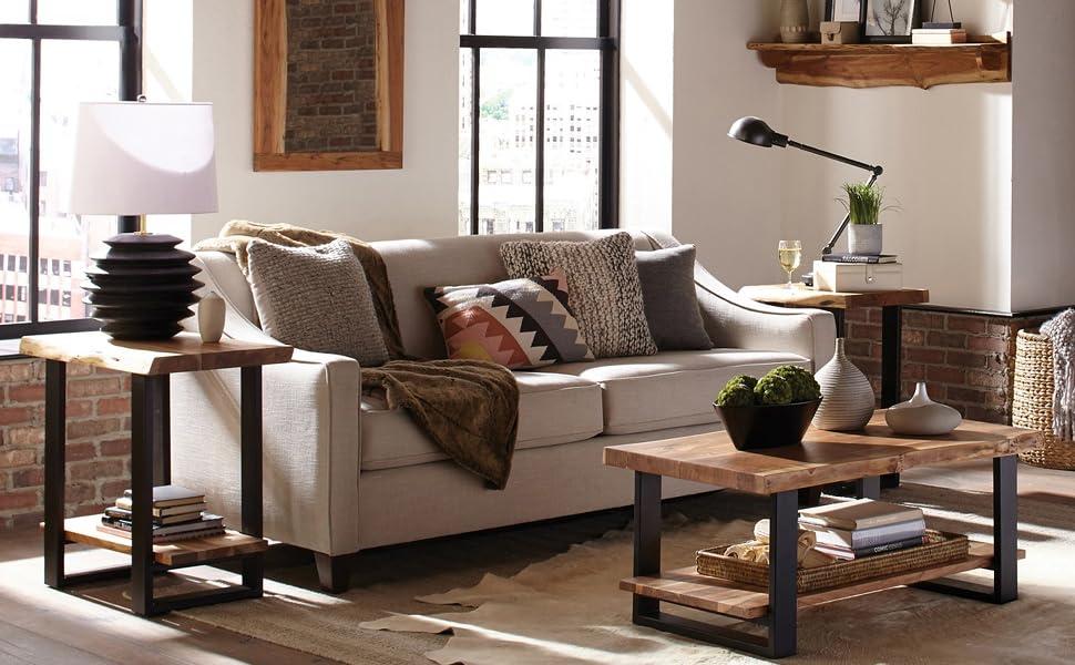 living room reclaimed live edge
