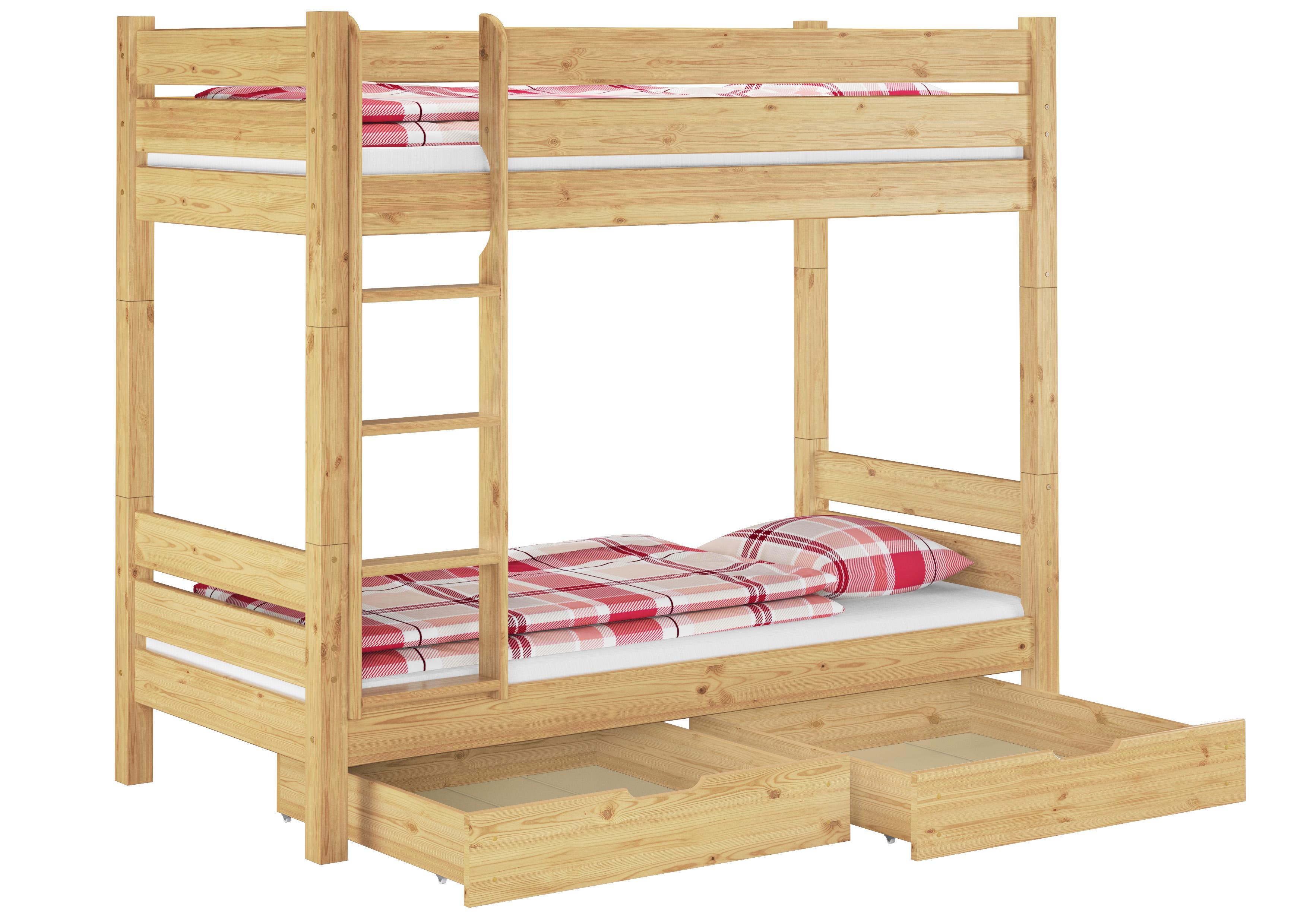 erst holz etagenbett kiefer 100x200 teilbar mit 2. Black Bedroom Furniture Sets. Home Design Ideas