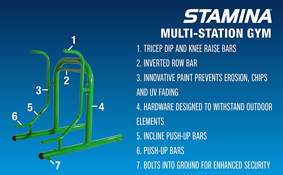 stamina outdoor fitness multi station gym features