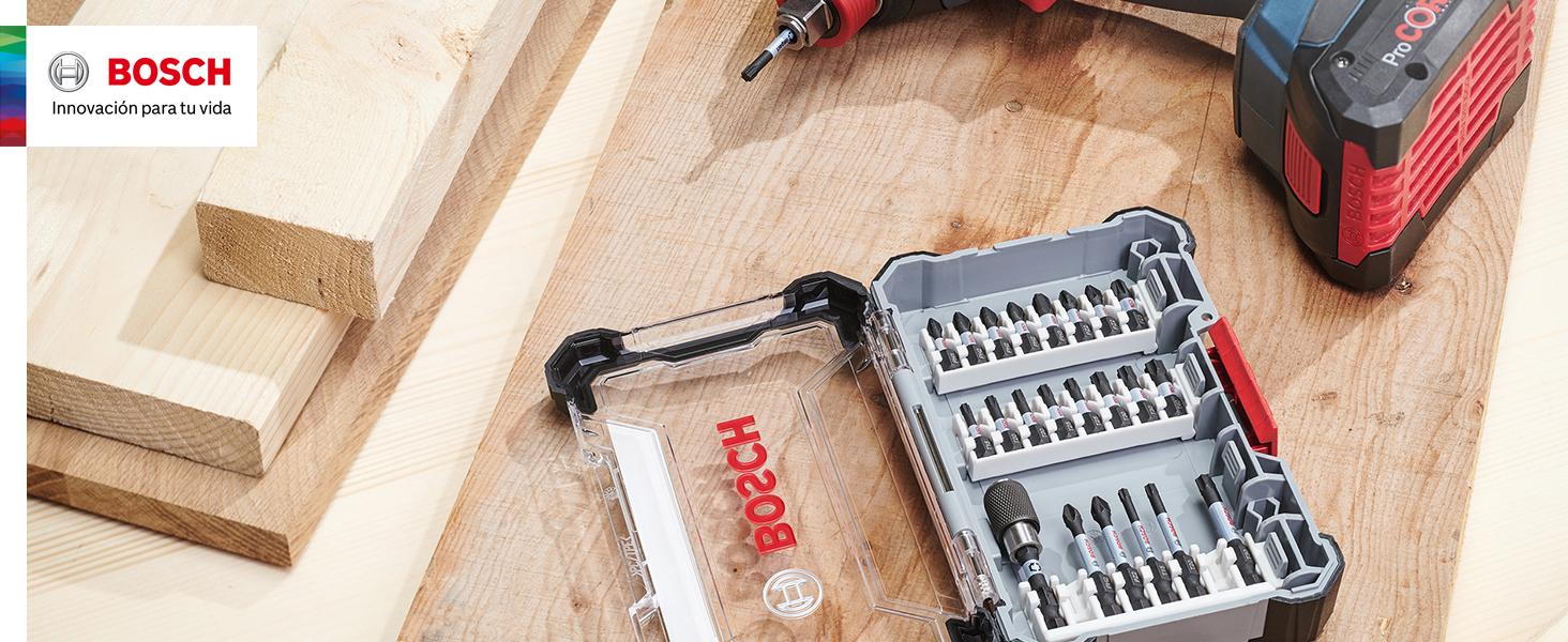 Taladro Atornillador Sin Cable Accesorio Impacto Bosch Professional 260925C157 Set De 8 Puntas De Atornillar Control Y Brocas para Azulejos Pick and Click