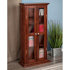 kitchen cabinet dvd winsome wood cd dvd cabinet with glass doors 18720