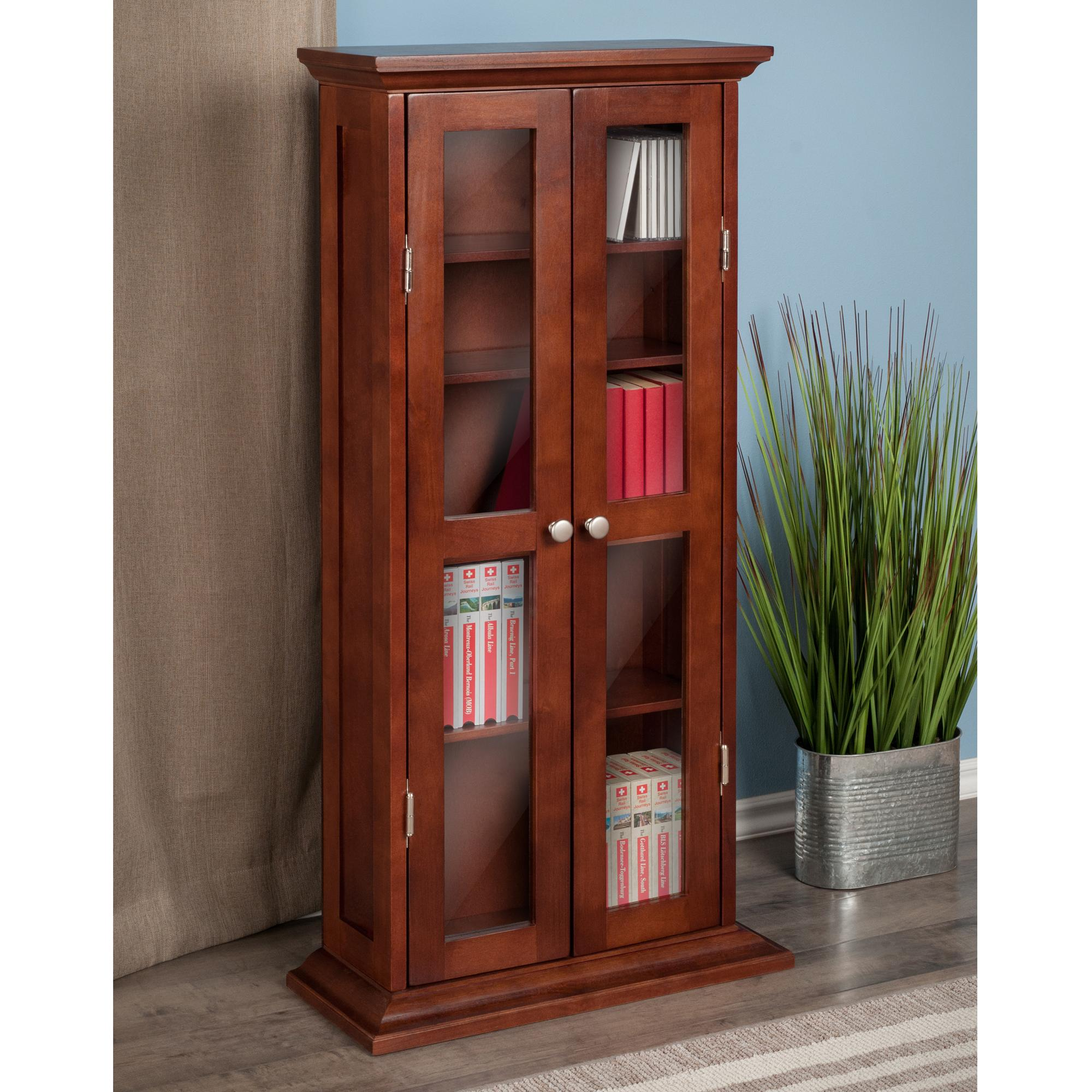Winsome wood cddvd cabinet with glass doors antique walnut holden cddvd cabinet eventelaan Gallery