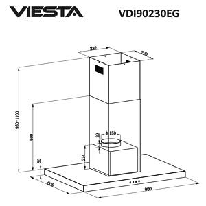 VIESTA VDI90230EG - Campana extractora de cocina de acero inoxidable 90cm - con pantalla táctil e iluminación LED - Campana islote como campana de extracción y recirculación - Clase energética A: Amazon.es: Hogar