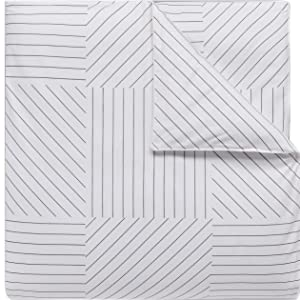 lacoste guethary comforter duvet cotton cover soft stripe line gray white bedroom bed guestroom