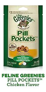 Feline Greenies Pill Pockets Chicken Flavor, Chicken Cat Treats, Medicine, Pill Pockets for Cats