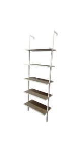 bookshelf bookcase book-shelves leaning-ladder wooden-storage space-saver 5-tier vintage office