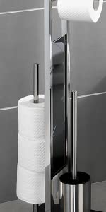 Stojący zestaw do WC Rivalta, ze zintegrowanym uchwytem na papier toaletowy i uchwytem na szczotkę do WC, stal nierdzewna.