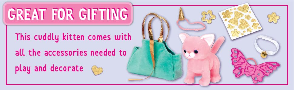 toys for girls, girls toys, pink cat plush, plush cat toy, cat plush, cuddly kitten, kitten toys