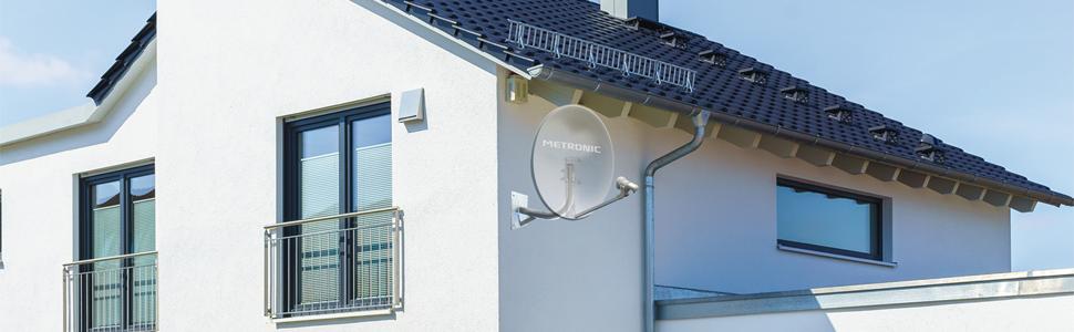 Metronic 498153 Kit Antena Parabólica (65 cm + cabeza de parábola lnb universal – Blanco