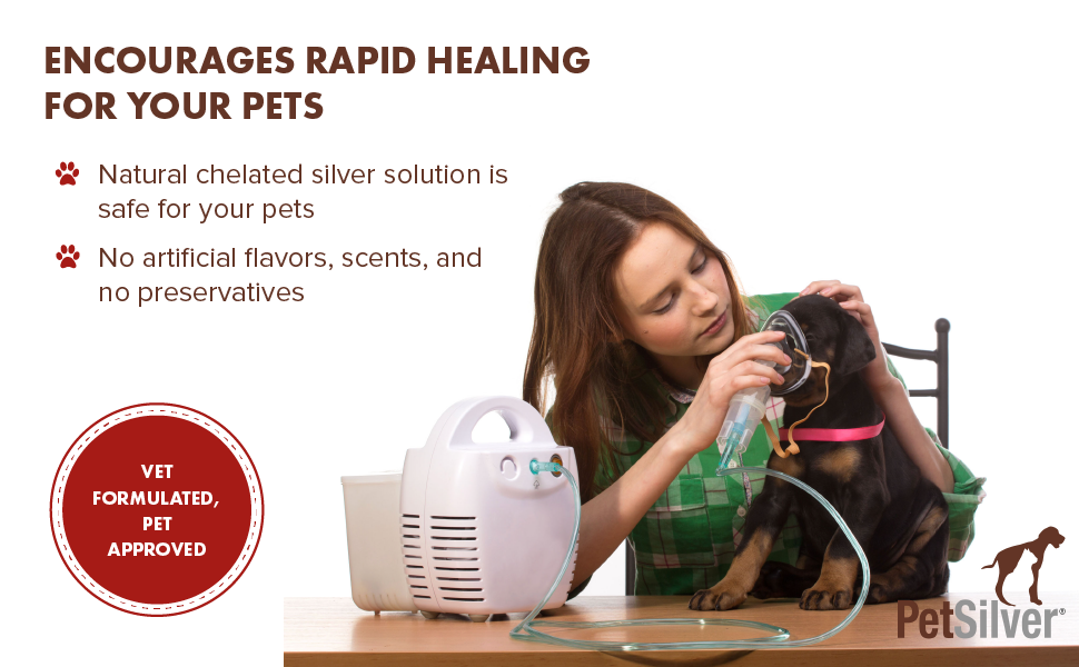 PetSilver Respiratory solution is natural and encourages rapid healing from congestion issues.