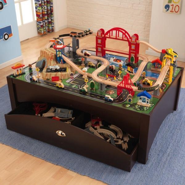 Amazon Com Kidkraft Metropolis Train Table Amp Set Toys