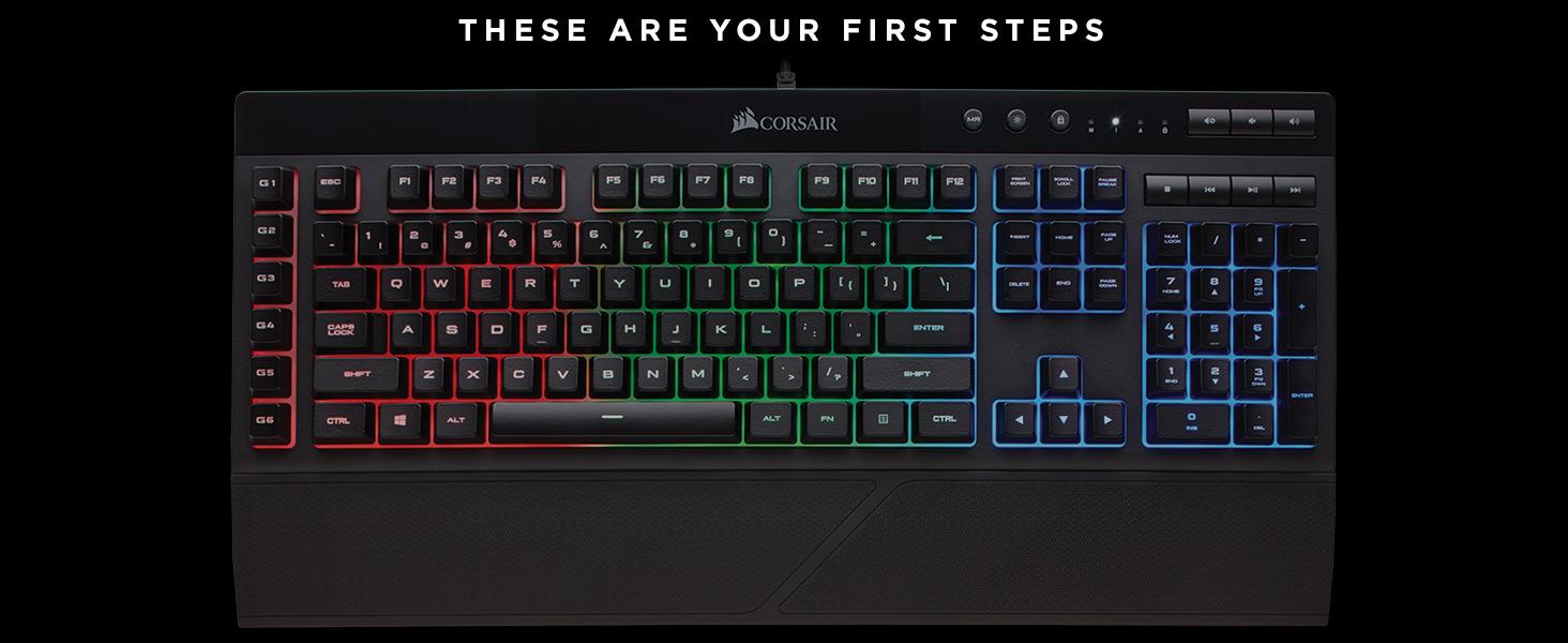Amazon Com Corsair K55 Rgb Gaming Keyboard Quiet Satisfying Led