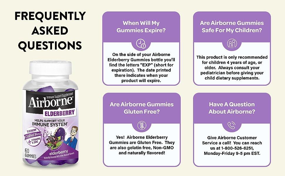 Airborne Elderberry Gummies Immune Support Vitamin C D E Zinc FAQ