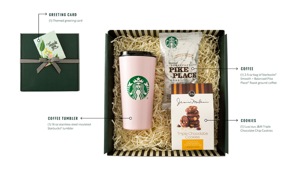 starbucks gift box thank you cookies coffee mug thermos