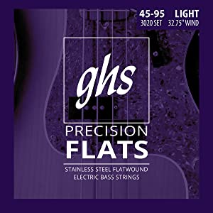 PRECISION FLATS, GHS, FLAT WOUND, STAINLESS STEEL, FLATWOUND, BASS STRINGS
