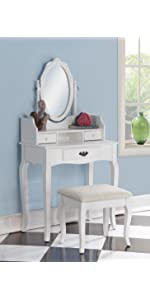 Amazon Com Roundhill Furniture Ashley Wood Make Up Vanity