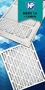 Nordic Pure 19x23x1ExactCustomM10+C-6 MERV 10 Carbon AC Furnace Filters 6 Piece