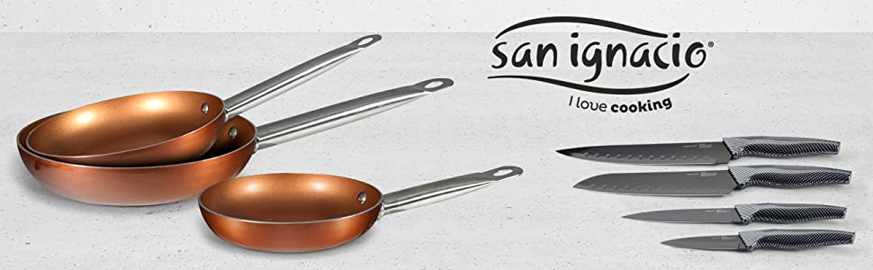 Pack San Ignacio 3 Sartenes Professional Chef Copper Plus Ø18 Ø22 Ø26 cm Cuchillos 4PCS MERIDA