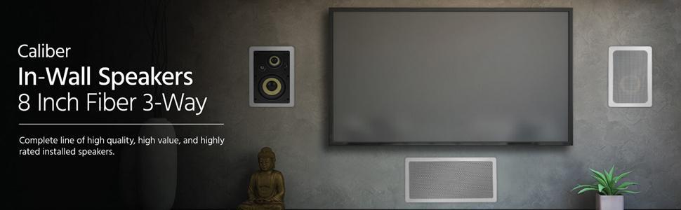 Caliber 8in Fiber In-Wall Speakers 3-Way (pair)