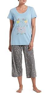 sleepwear sets, pajamas, womens pajama sets, pjs, capri pants, sleepwear, pjs for women