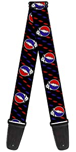 Steal Your Face Grateful Dead Head Skeleton White Blue Black Red Guitar Strap Acoustic Electric