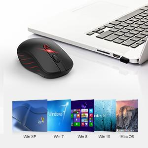 VicTsing Wireless Mouse, 2 4G Portable Ergonomic Optical Mouse,6 Buttons 5  Adjustable DPI -50% Higher Work Efficiency, A Long Battery Life for Laptop,