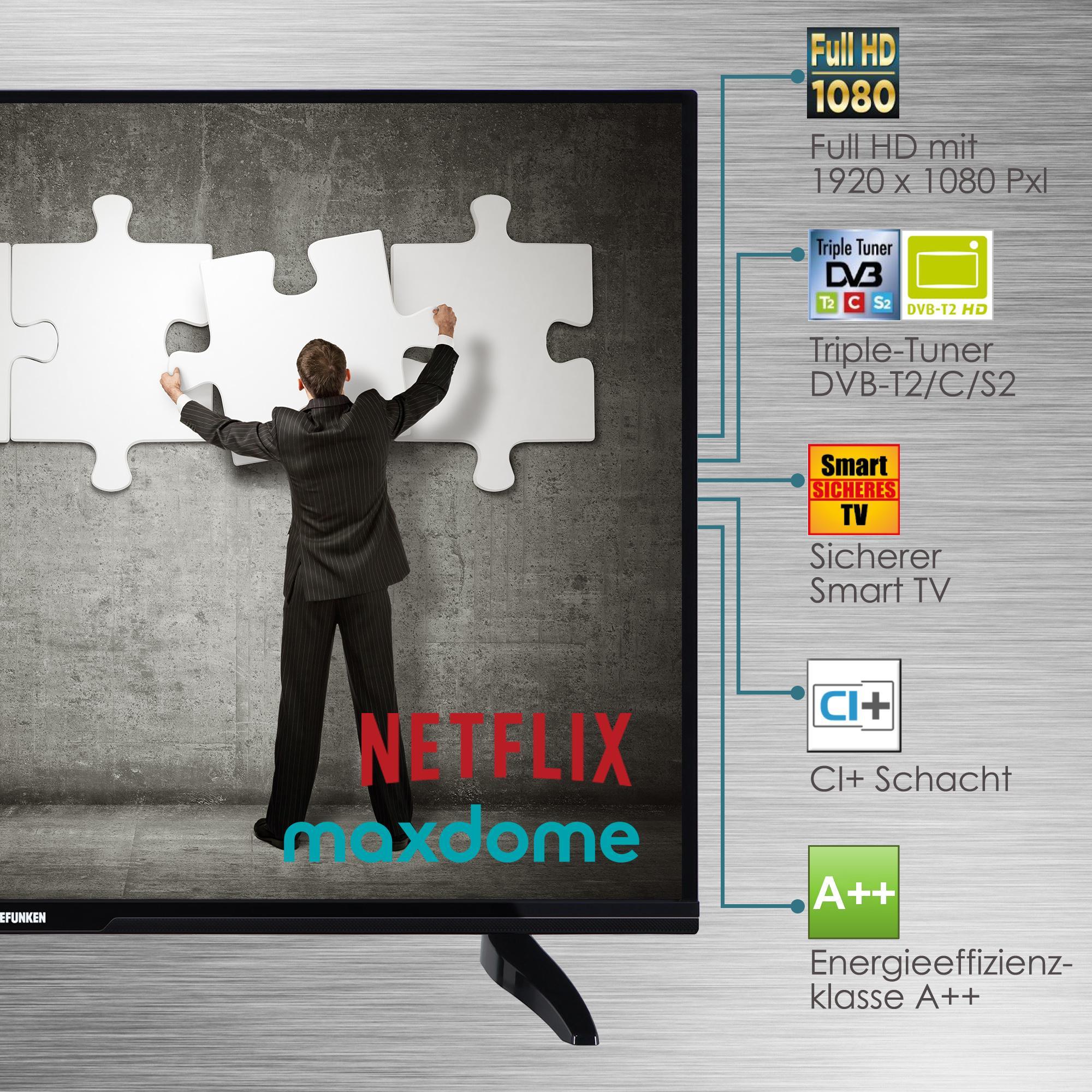 telefunken xf43d401 110 cm 43 zoll fernseher full hd smart tv triple tuner. Black Bedroom Furniture Sets. Home Design Ideas