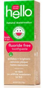 Kids toothpaste, fluoride free, watermelon flavor, natural