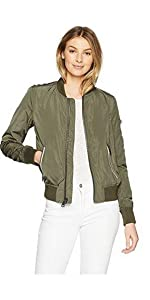 3133d9f42be ... Levi s Women s Poly Bomber Jacket With Contrast Zipper Pockets ...