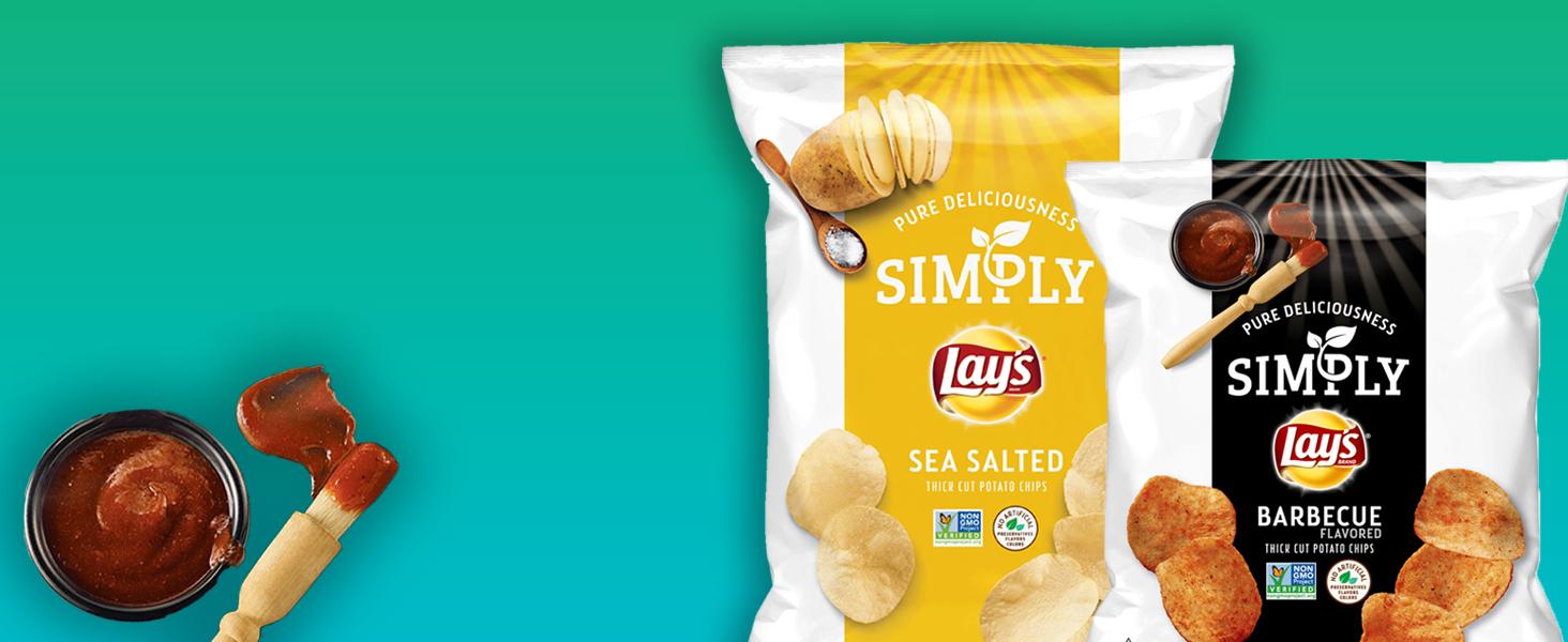simply lays non gmo project potato chips classic barbecue healthy snack alternative