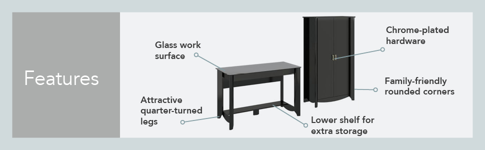 Bush Furniture Aero Coffee Table in Classic Black