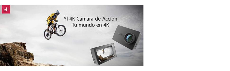 Yi 4K + Carcasa, Cámara Deportiva con Grabación 4K/30fps y Pantalla táctil de 2.19 Pulgadas, WiFi, Color Negro