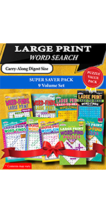 Kappa Books Publishers Large Print Word Search Puzzle Books Super Saver Pack