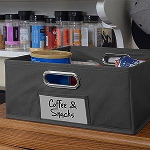 regency, niche, tote, bin, storage, cube storage, half, black, label holder, kitchen,kitchen storage