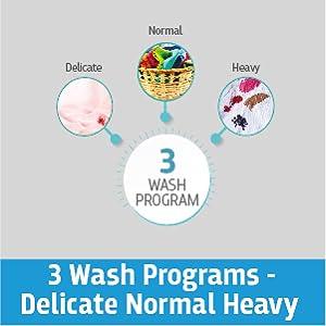 3 wash programs - Delicate normal heavy