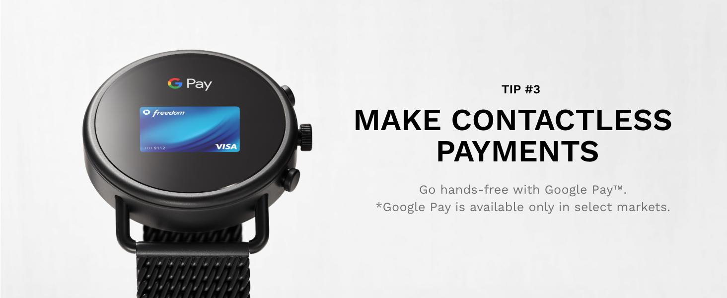 Skagen falster 3 smartwatch, contactless payment, google pay,