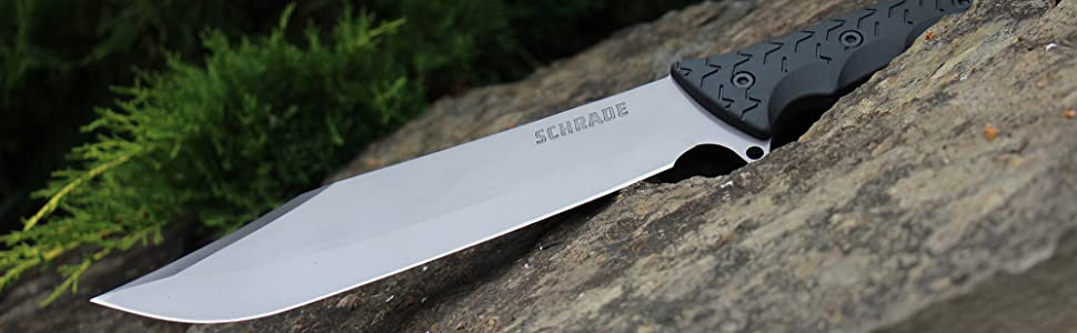 Schrade SCHF45 Leroy 16.5in High Carbon SS Full Tang Fixed Blade Knife with 10.4in Bowie Blade and TPE Handle for Outdoor Survival Camping and EDC