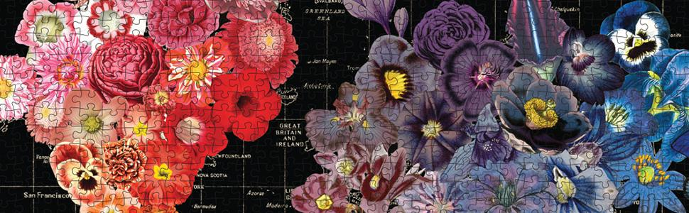 wendy gold 1000 piece full bloom world map puzzle